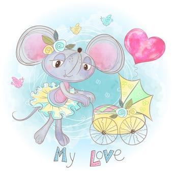 Mom muis met een baby in een kinderwagen. mijn kind. babyshower.