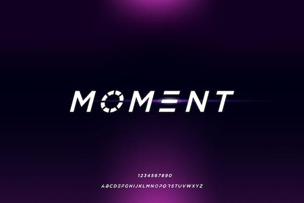 Moment, een abstract futuristisch alfabetlettertype met technologiethema. modern minimalistisch typografieontwerp