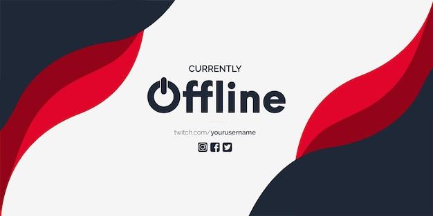 Momenteel offline twitch-achtergrond met abstracte rode vormen