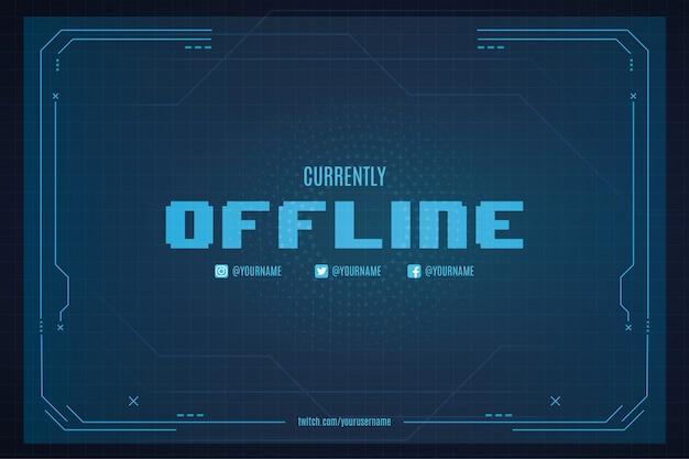 Momenteel offline twitch-achtergrond met abstracte technologie-achtergrondsjabloon