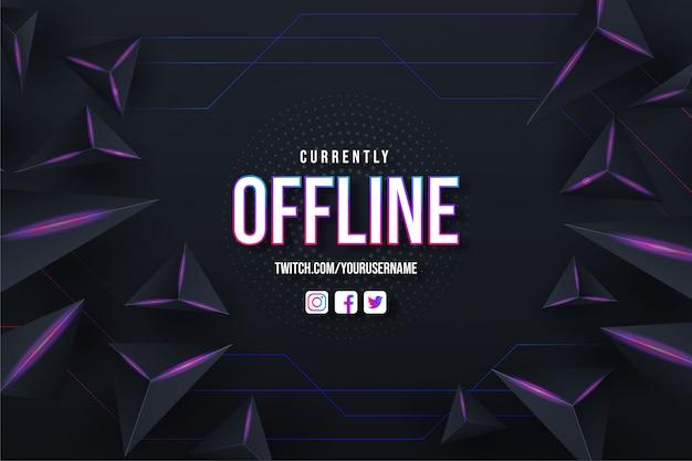 Momenteel offline twitch achtergrondontwerpsjabloon met abstracte achtergrond