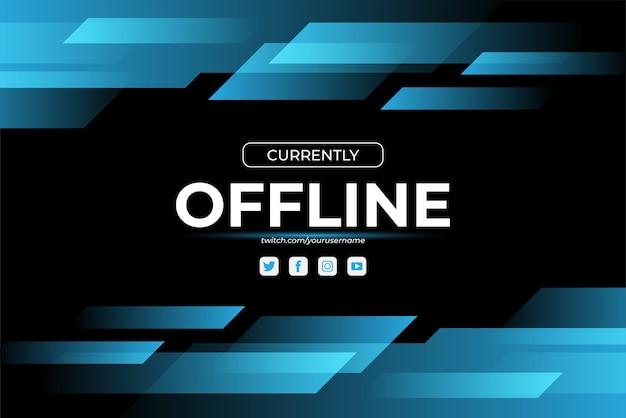 Momenteel offline twitch banner achtergrond in gloeiende blauwe kleur