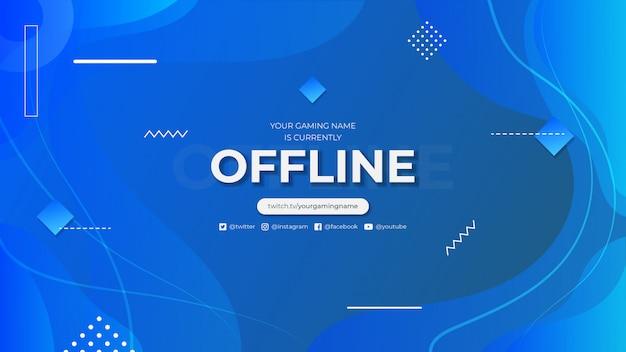 Momenteel offline twitch banner met abstracte achtergrond met kleurovergang