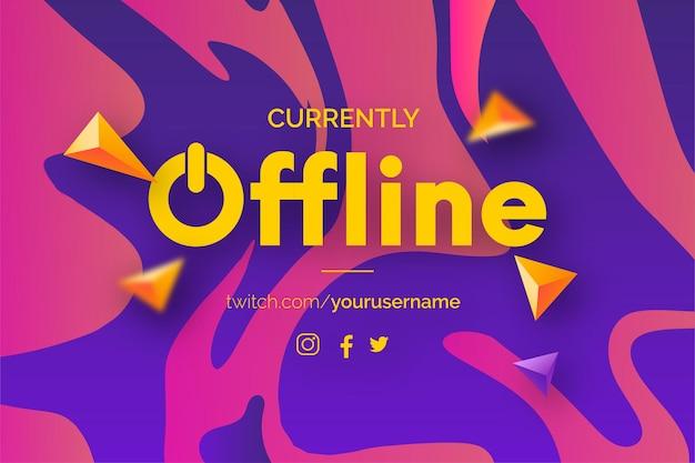 Momenteel offline twitch-bannerachtergrond met kleurrijk vloeibaar effect