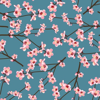 Momo peach flower blossom seamless op blauwe achtergrond