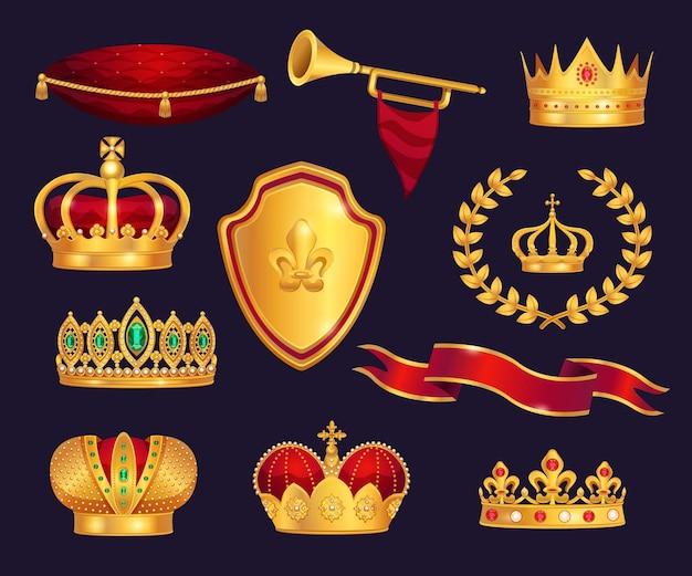 Monarchie attributen heraldische symbolen realistisch set met gouden kronen tiara trompet lauwerkrans ceremonieel kussen