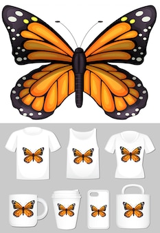 Monarchvlinder op verschillende productsjablonen