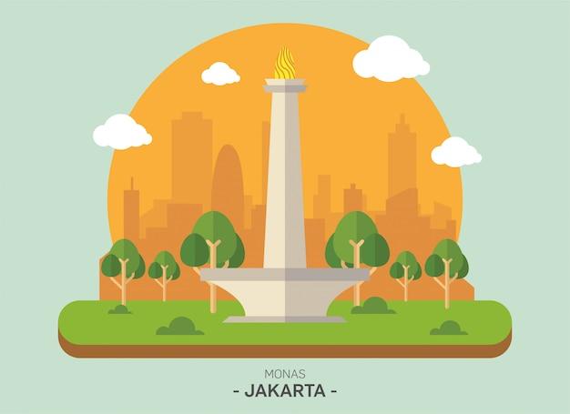 Monas jakarta infographic vector