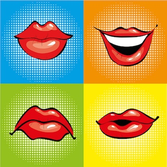 Mond met rode lippen in retro pop-artstijl