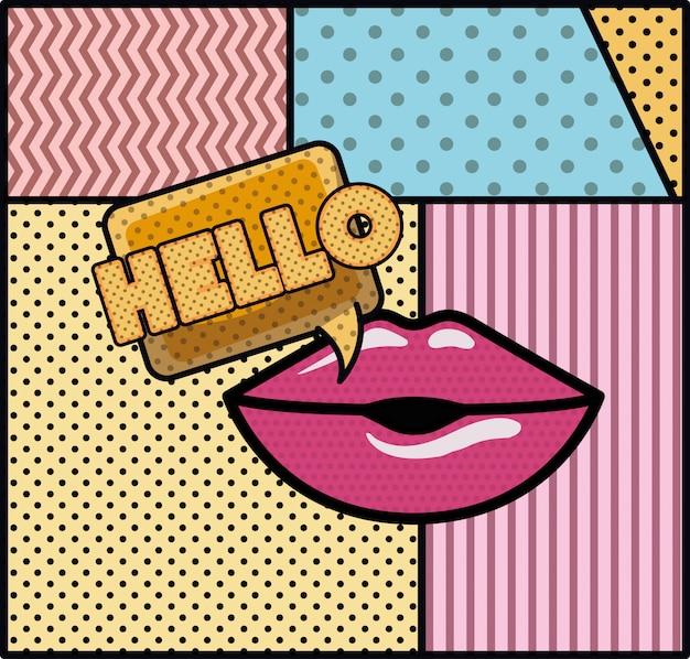 Mond zegt hallo pop-artstijl