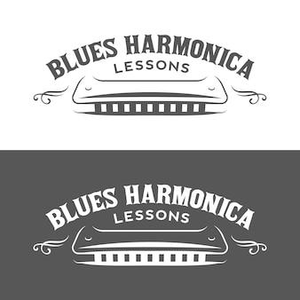 Mondharmonica lessen retro embleem, logo.