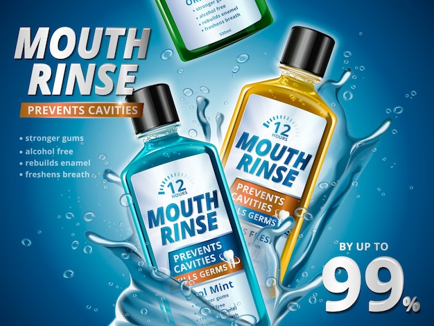 Mondspoeling advertenties, verfrissende mondwater producten in verschillende smaken met spetterende aqua-elementen in 3d illustratie