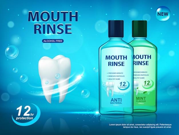 Mondspoeling, poster voor mondhygiëne, vectoradvertentie voor het reinigen van tanden en mondholte. witte gezonde tand, flesjes met tandverzorgingsproduct, muntsmaak, antibacterieel, alcoholvrije tandplakbescherming