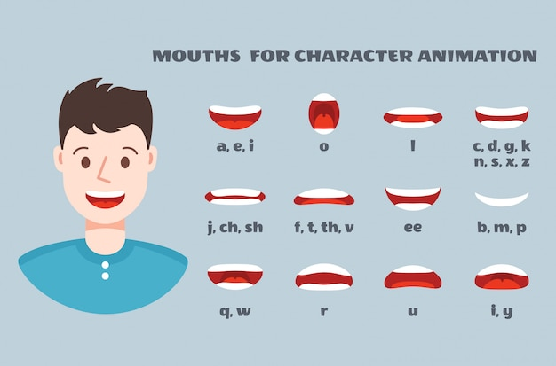 Mondsynchronisatie. mannelijk gezicht met lippen praten expressie set. articulatie en glimlach, sprekende monden animatiecollectie