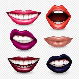 Monduitdrukkingen lippen lichaamstaal realistische set met heldere aandacht trekken lippenstift kleuren transparant