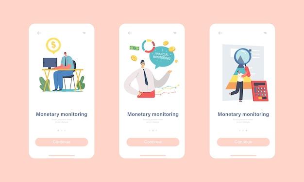 Monetaire monitoring mobiele app-pagina onboard-schermsjabloon. business people financial analytics rapporteert prestaties met statistische gegevens