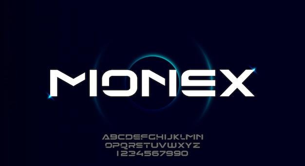 Monex, een gewaagd modern sportief typografie-alfabetlettertype. vector illustratie ontwerp.