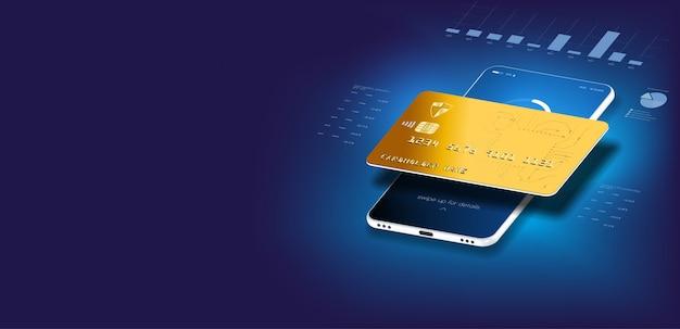 Money card transfers en financiële transacties. illustratie isometrische stijl. online betalen, elektronische factuurbetaling met e-mail, mobiele telefoon met creditcard.