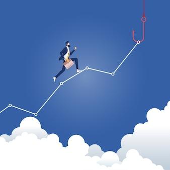 Money trap concept-zakenman loopt hoger op de grafiek aan de vishaak