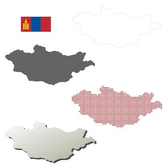 Mongolië vector overzicht kaart set