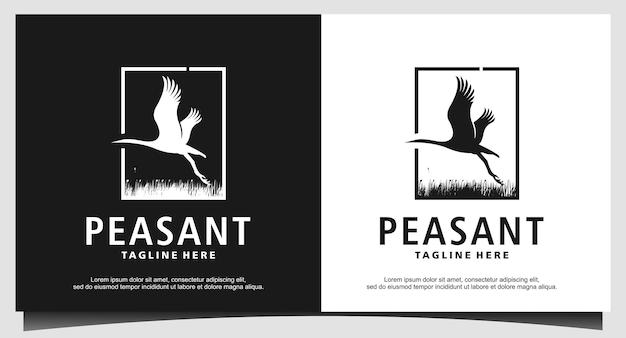 Mongools vogel dier logo ontwerp