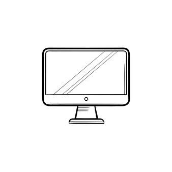 Monitor hand getrokken schets doodle pictogram. computerscherm, pc en desktop, kantoorapparatuurconcept. schets vectorillustratie voor print, web, mobiel en infographics op witte achtergrond.