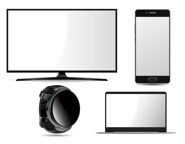 Monitor, laptop, smart watch en mobiele telefoon