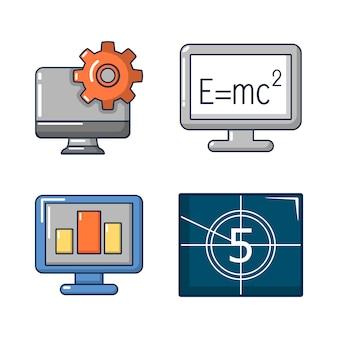 Monitor lcd-pictogramserie. beeldverhaalreeks monitor lcd vectorpictogrammen geplaatst geïsoleerd
