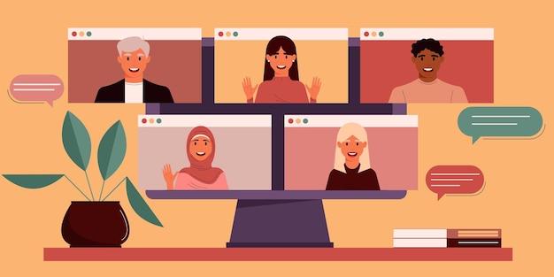 Monitor met een groep collega's of studenten van verschillende nationaliteiten virtueel vergaderen