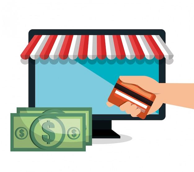 Monitor pc e-commerce winkel online ontwerp