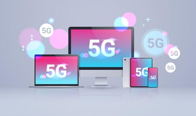 Monitor tablet smartphone laptop schermen 5g online communicatienetwerk draadloze systemen verbinding platformonafhankelijk concept