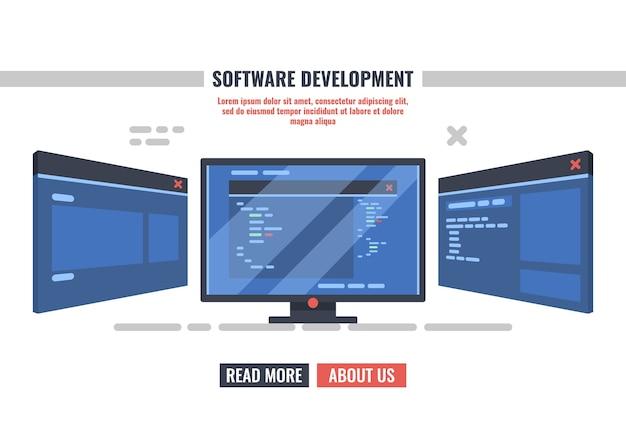 Monitor van programmeur met open venster met programmacode