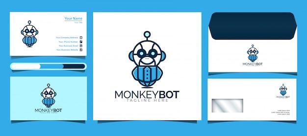 Monkey bot logo ontwerpsjabloon. ontwerp logo's, pictogrammen, enveloppen en visitekaartjes.