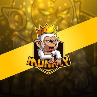 Monkey esport mascotte logo ontwerp