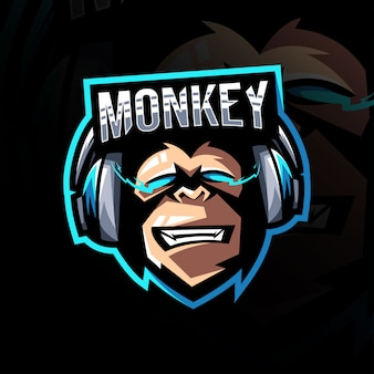 Monkey gamers mascotte logo esport-sjabloon