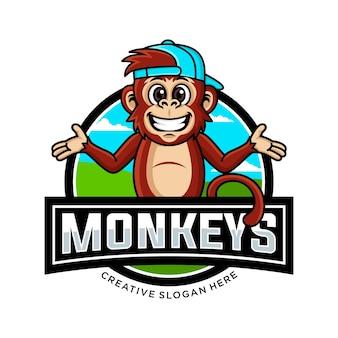 Monkey head mascot logo design vector illustration