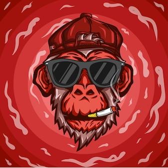 Monkey head roken met stijl zonnebrillen en hoeden en rode rook als achtergrond.