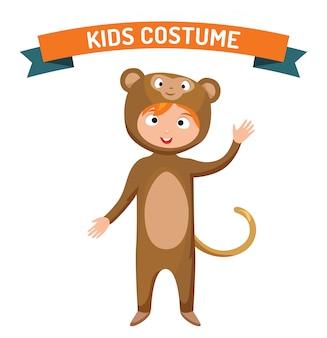 Monkey kid kostuum geïsoleerde vectorillustratie
