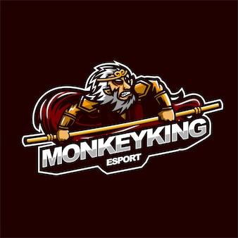 Monkey king e-sport gaming mascotte logo sjabloon