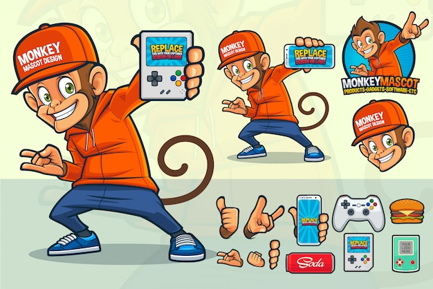 Monkey-mascotte voor videogamewinkel of andere producten