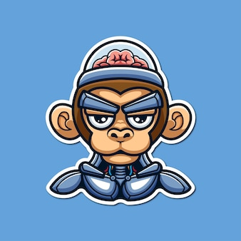Monkey robot conceptueel cyberpunk creatief karakter cartoon logo ontwerp