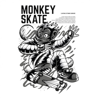 Monkey skate zwart en wit illustratie