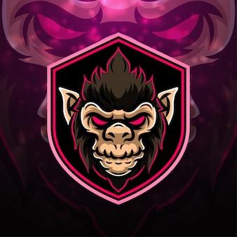 Monkey sport mascotte logo ontwerp