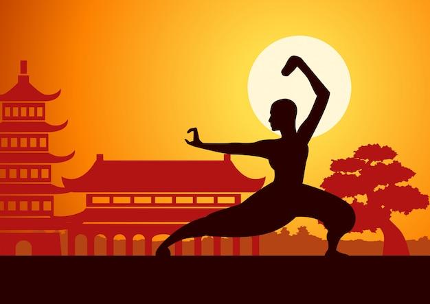 Monnik train om chinese boxing kung fu vechtsport te bestrijden