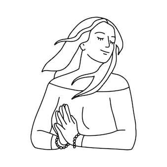 Mono lijntekening van gelukkige vrouw met namaste gebaar handen. het haar van een meisje wappert in de wind. lineaire vectorillustratie