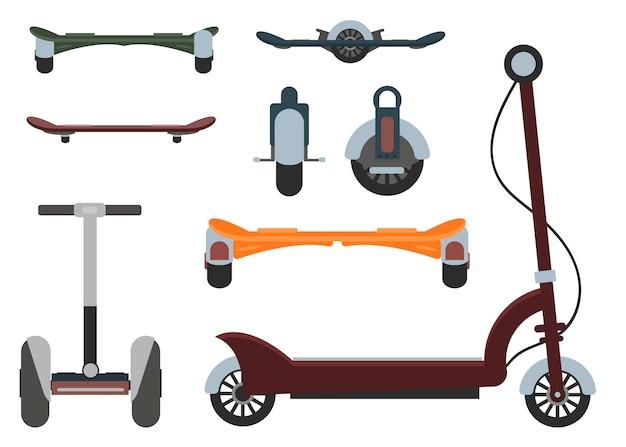 Mono wiel geïsoleerde roller vector scooter.