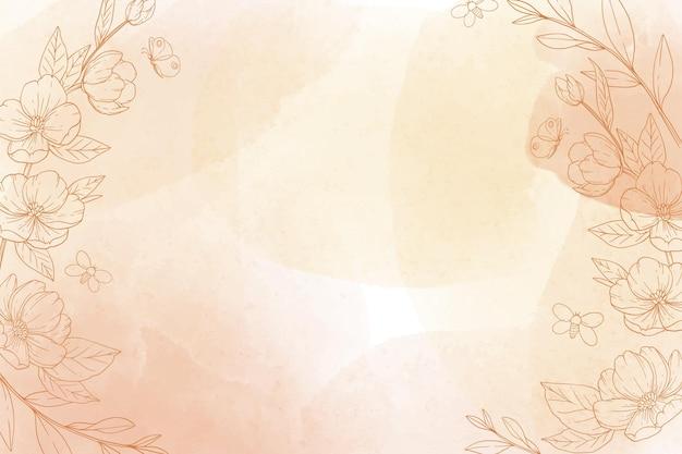 Monochromatisch handgeschilderde achtergrond met getekende natuurelementen