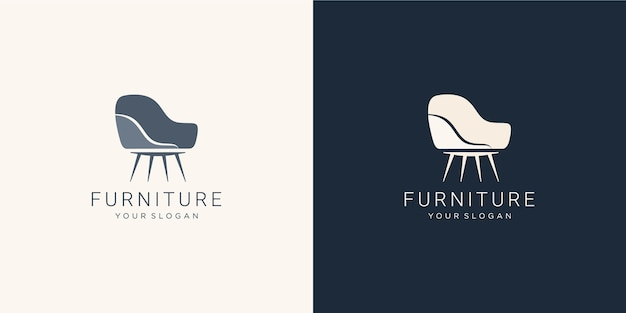 Monochromatisch meubellogo met stoel
