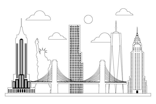 Monochromatisch overzicht oriëntatiepunten skyline concept