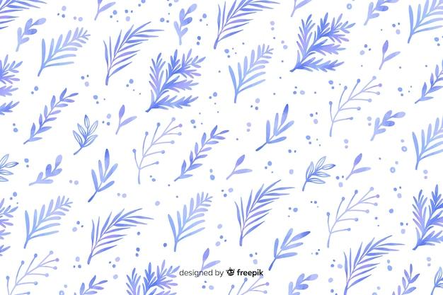 Monochromatische aquarel blauwe bloemen achtergrond